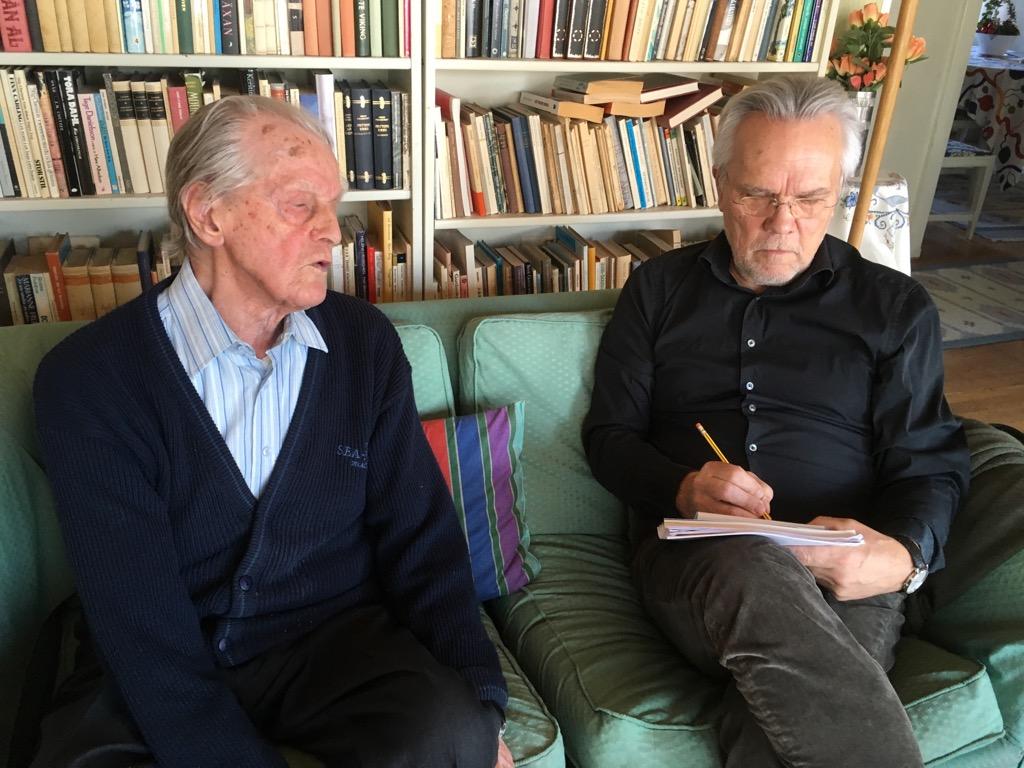 Jeg intervjuer 105 år gamle Gösta Vestlund i Stockholm våren 2018.